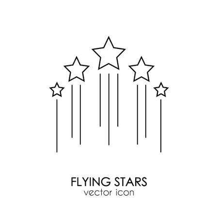 Five flying stars icon. Stock vector illustration of for winning in sport and other competition. Outline icon isolated on white background. Illustration
