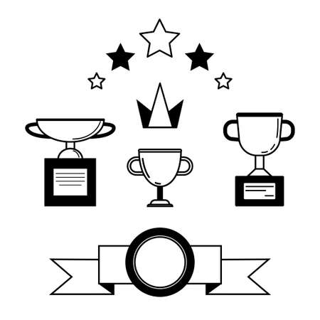 Prize and award icon set. Stock vector illustration of stars, trophy, cup for winning in sport and other competition. minimal black and white style.