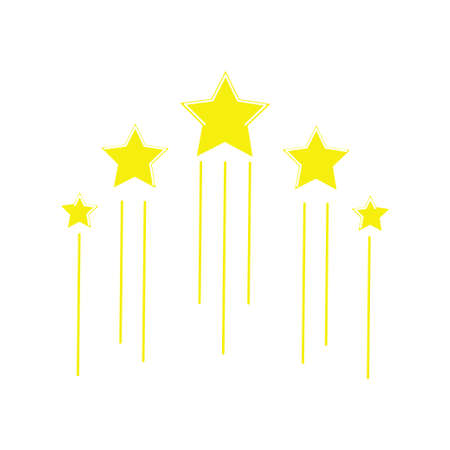 Five flying stars icon. Stock vector illustration of for winning in sport and other competition. Yellow flat isolated on white background.