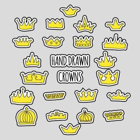 Hand drawn golden crown patch set. Stock vector illustration of royal symbol for trendy patches, fashion stickers.