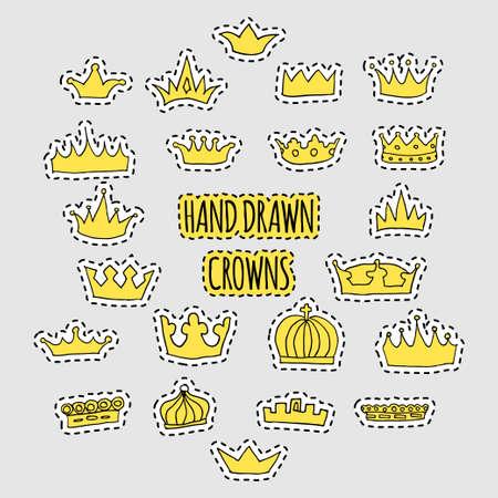 hand drawn crown patch set 向量圖像
