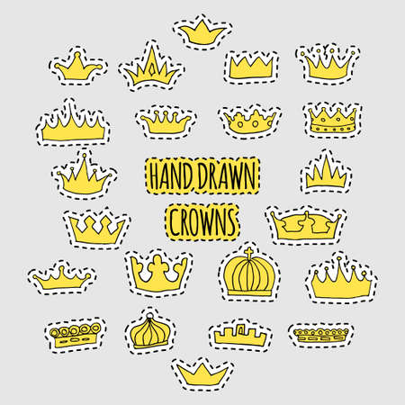 hand drawn crown patch set Illustration