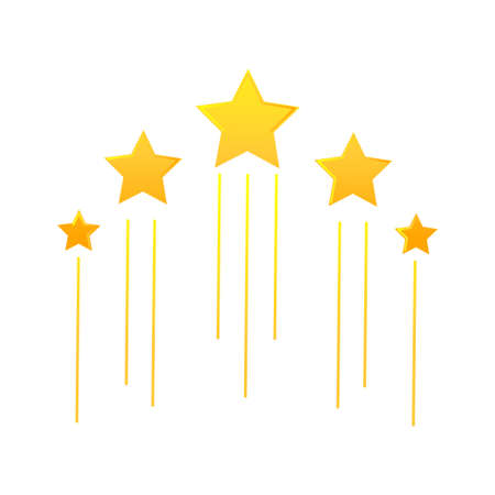 Five flying stars icon. Stock vector illustration of for winning in sport and other competition. Gradient yellow icon isolated on white background. Illustration