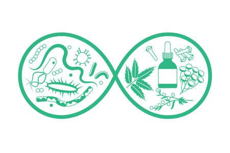 Herbal medicine vs bacteria and parasites. Vector illustration