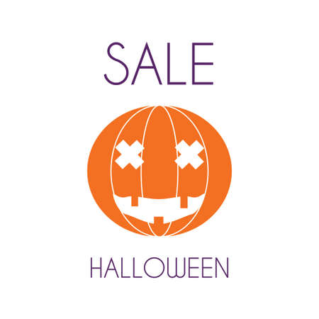 Halloween sale minimal poster. Stock vector illustration with an orange pumpkin for advertising template. Flat style.