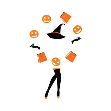 halloween sale girl juggling bags and pumpkin Illustration