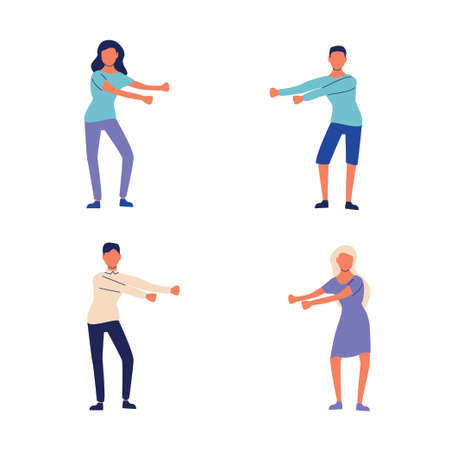 Young people dancing popular floss dance. Stock vector illustration of human figures in a dancing pose swinging arms. Flat style Vectores