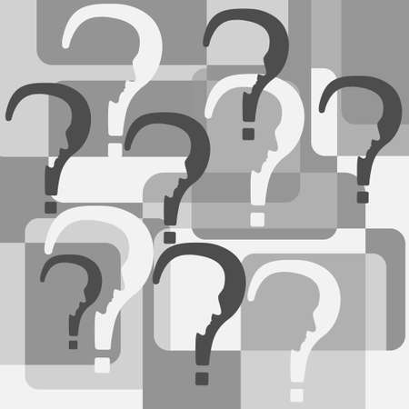 Psychology problems concept. Stock vector illustration of question marks with cut out profile inside in grey colors.
