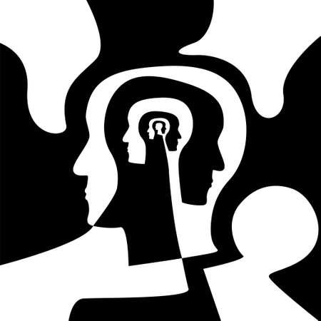 Concetto di complessità psicologica. Illustrazione vettoriale di stock di una testa umana con più profili all'interno per confusione, ricordi, disturbi della personalità, malattie mentali. Vettoriali