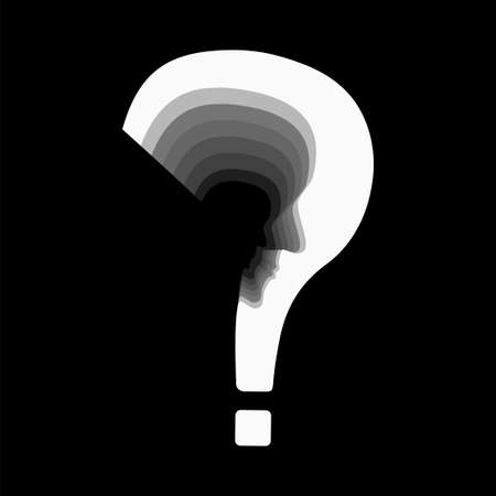 Psychology problem concept. Stock vector illustration of a question mark with cut out profile inside.