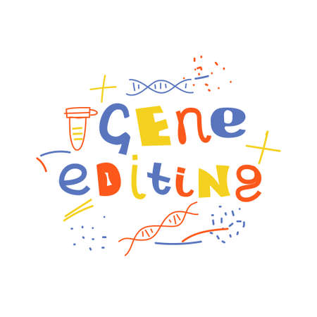 Gene editing vector concept. Stock vector illustration of lettering with dna molecules in bright colors.