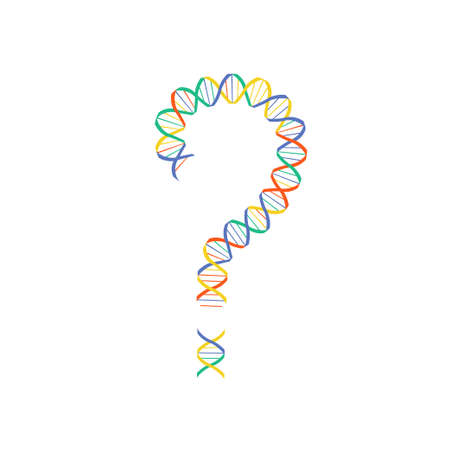 Gene editing vector concept. Stock vector illustration of dna double helix in a shape of a question mark. Vectores