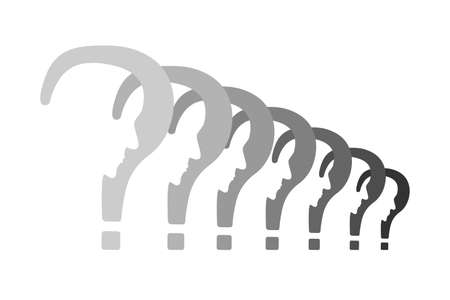 Psychology problem concept. Stock vector illustration of a question mark with cut out profile inside in a row.