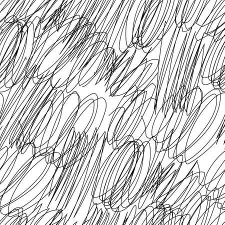 Griffonner le modèle sans couture dessiné à la main. Illustration vectorielle stock de formes d'esquisse chaotique enchevêtrement en couleur noire sur fond blanc. Vecteurs