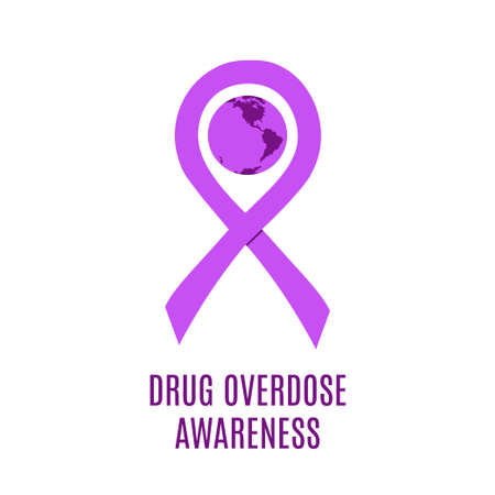 Drug overdose awareness day. Stock vector illustration of a traditional purple ribbon wrapping earth planet of the same color. Ilustração