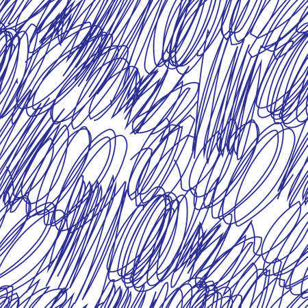 Scribble hand drawn seamless pattern. Stock vector illustration of tangle chaotic sketch shapes in blue color on white background.