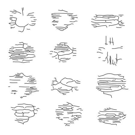 Hand drawn grunge texture set. Stock vector illustration of hatchy textures and strokes for cracks, wood and old material isolated on white background.