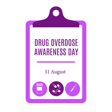 Drug overdose awareness day. Stock vector illustration of a medical checklist with different drug shapes both pills and syringe in purple color. 向量圖像