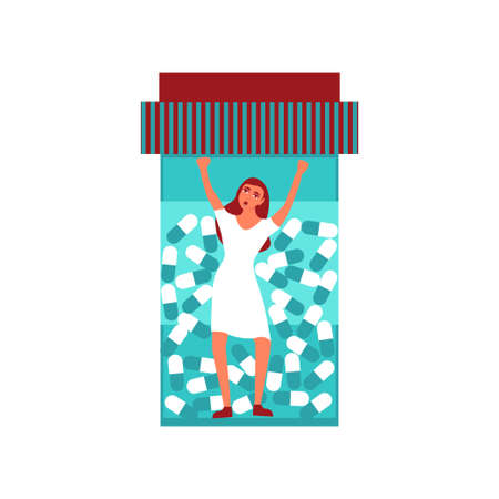 girl fighting trapped inside a pill bottle vector concept