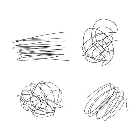 Scribble hand drawn circle set. Stock vector illustration of tangle chaotic sketch shapes isolated on white background.