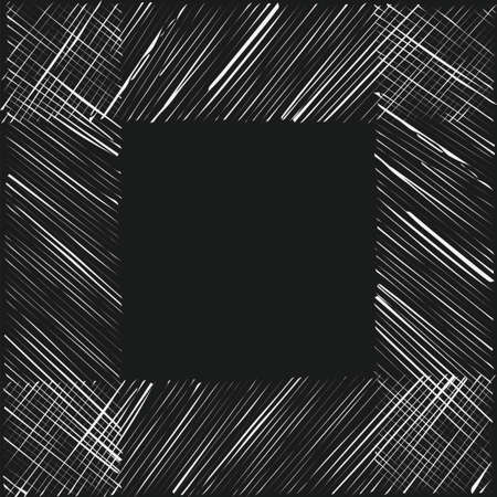 Hand drawn grunge texture frame. Stock vector illustration of hatchy white strokes forming a square frame on dark background.