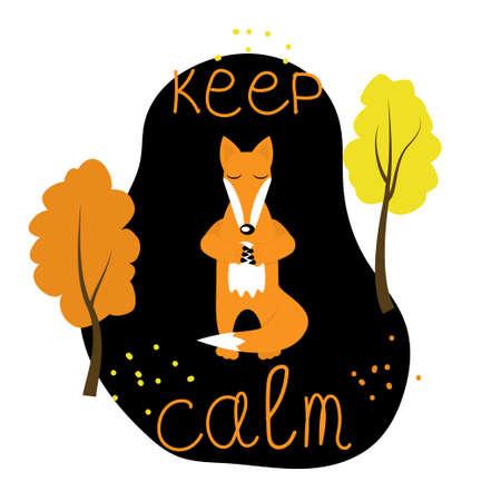 Fox character meditates isolated on dark background. Stock vector illustration of peaceful animal meditation.