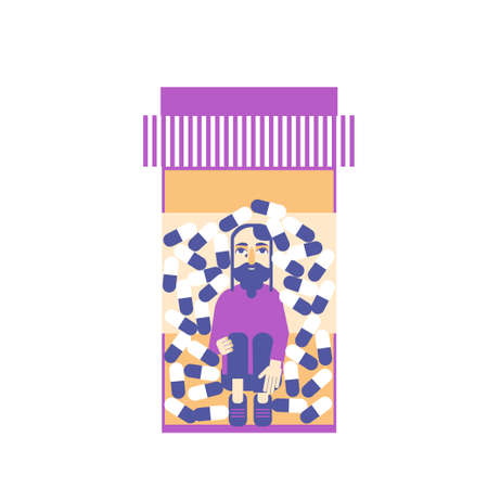 a sad man trapped inside a pill bottle vector concept