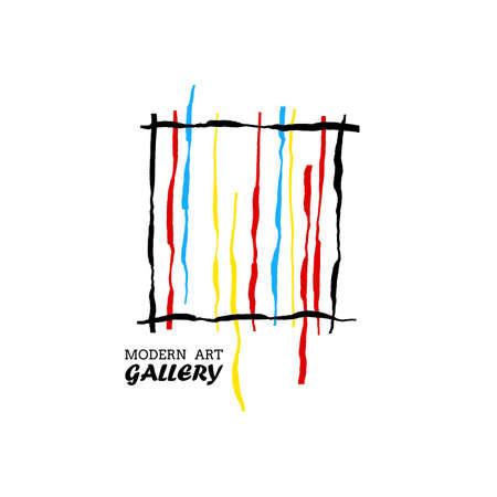 modern art gallery bright lines vector concept