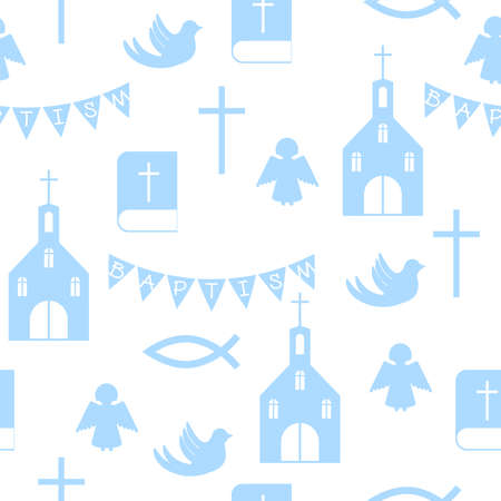 christian seamless pattern with church and bible