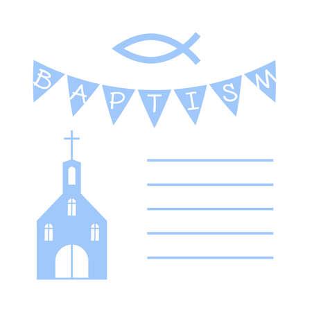 vetor christian baptism card with a church