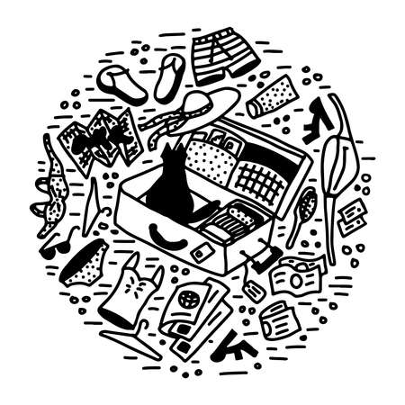 vacation packing a suitcase doodle vector illustration Illustration