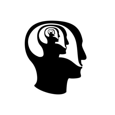 Icono de conversación mental múltiple. Ilustración vectorial de stock de un bocadillo dentro del perfil humano recursivo para enfermedades psiquiátricas, esquizofrenia, estados obsesivos, psicoterapia, depresión, trastorno de salud mental. Ilustración de vector