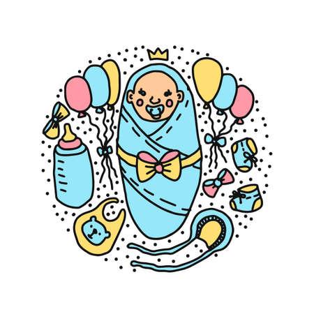 newborn baby prince baby shower vector illustration