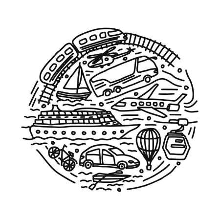 transportation different vehicles round vector doodle illustration