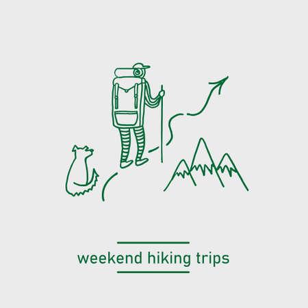 backpacking hiking man with a dog doodle vector illustration Illustration