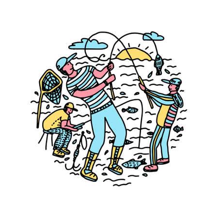 fishing angling fishermen doodle vector circular illustration Illustration