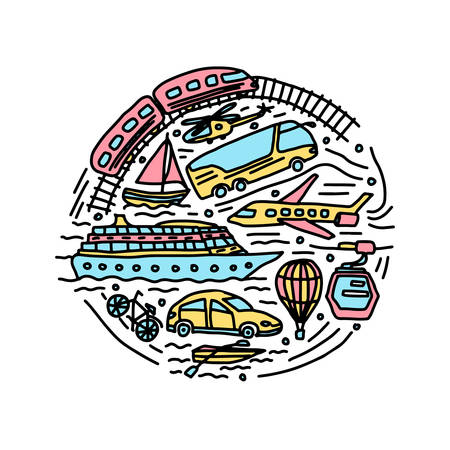 transportation different vehicles round vector doodle illustration