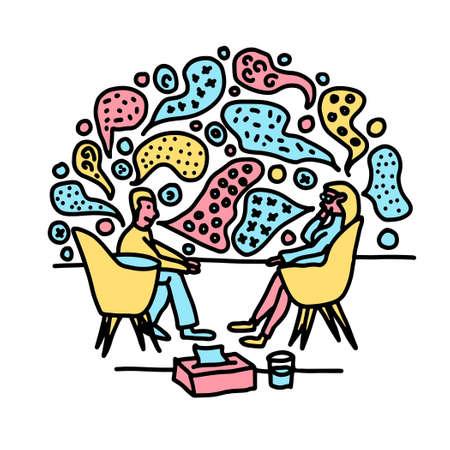 psychotherapy counselling talk ideas doodle vector illustration Ilustración de vector