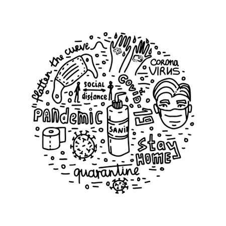 Pandemic epidemic coronavirus quarantine vector lettering doodle Ilustración de vector
