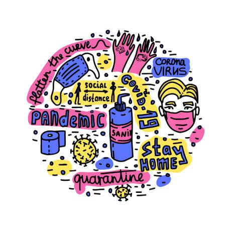 Pandemic epidemic coronavirus quarantine vector lettering doodle Illustration