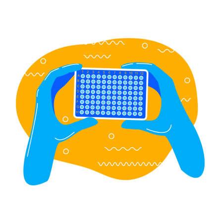 pcr plate test in doctors hands vector illustration Ilustrace