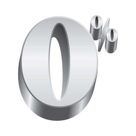 Brillante, metálico símbolo número cero por ciento puede ser colocada sobre fondos claros u oscuros
