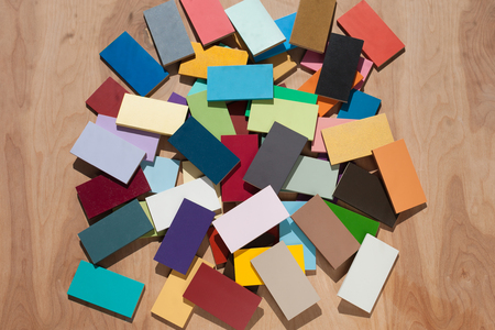 Colorful painted wood tile swatches