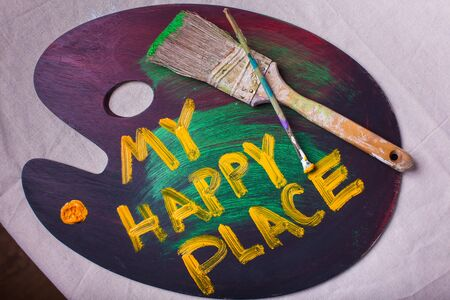 My Happy Place art paint palette with paint brushes