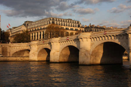 keystone light: The Pont Neuf, or new bridge, in Paris, France taken at sunset.