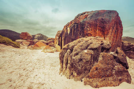wilsons promontory: Majestic orange rocks on Squeaky Beach at Wilsons Promontory, Victoria, Australia