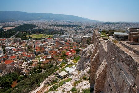archaeologies: View of Athens from Acropolis, Greece Stock Photo