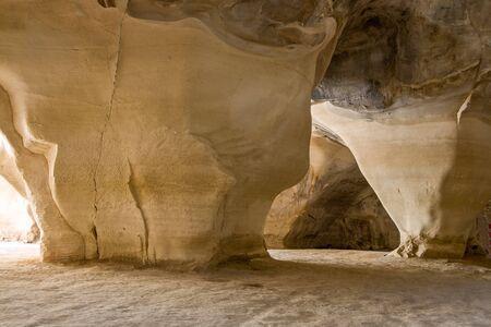 Huge limestone pillars at underground caves, Beit Govrin, Israel.