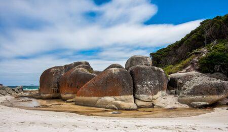 wilsons promontory: Granite Boulders at Squeaky Beach, Australia Stock Photo