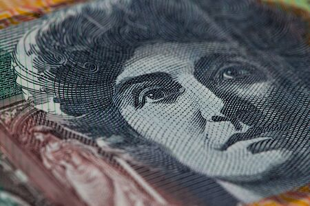 melba: Extreme closeup of Dame Nellie Melba printed on Australian one hundred dollar bill